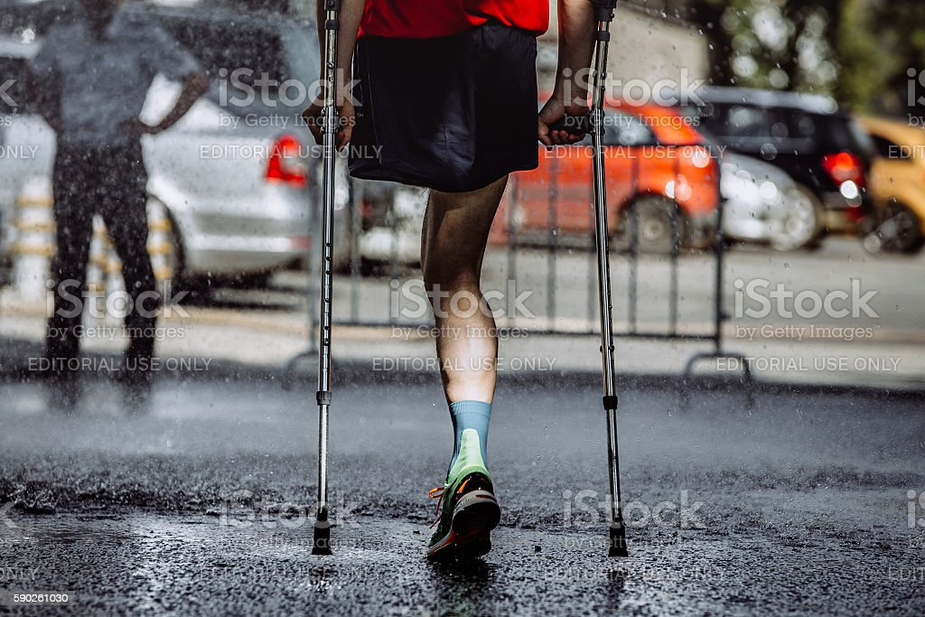 male athlete with a disability without a leg stock photo