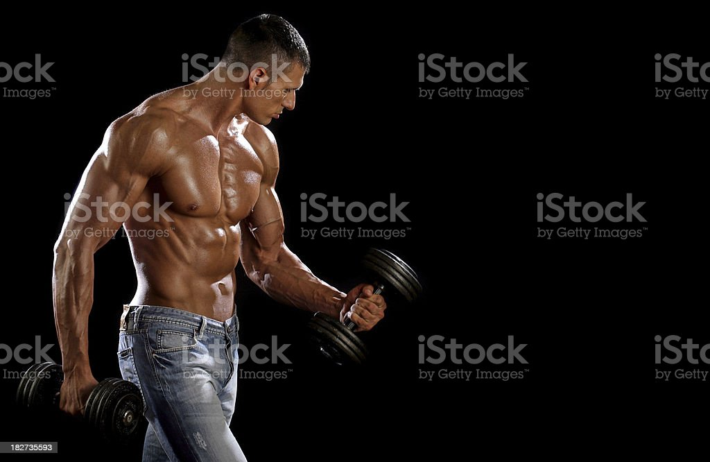 Male Athlete With Dumbbells royalty-free stock photo