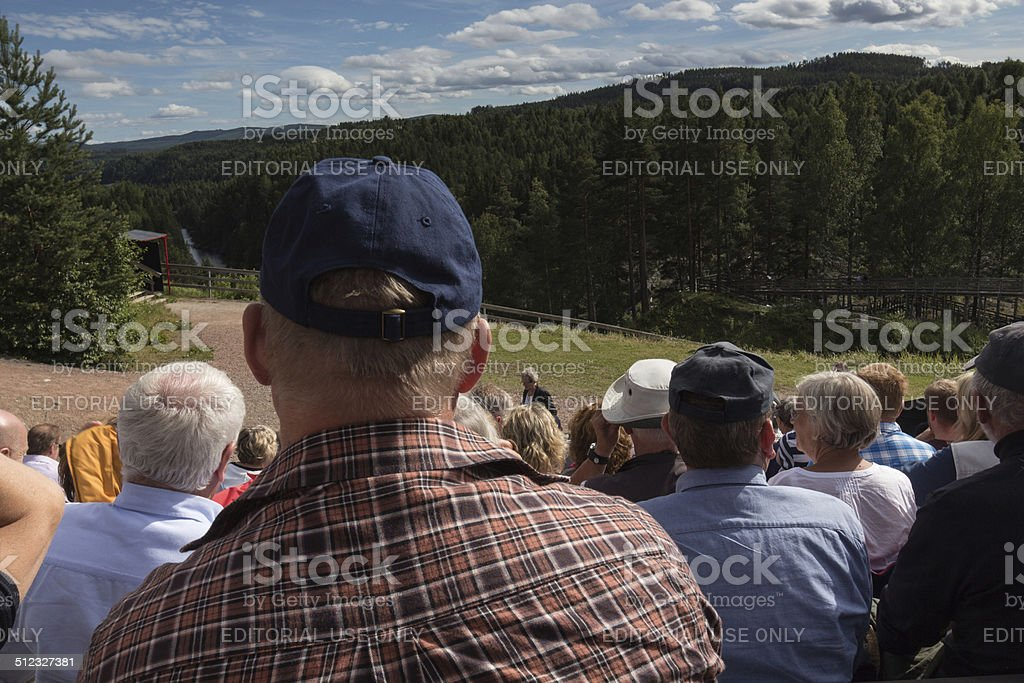 male audience at a outdoor theatre stock photo