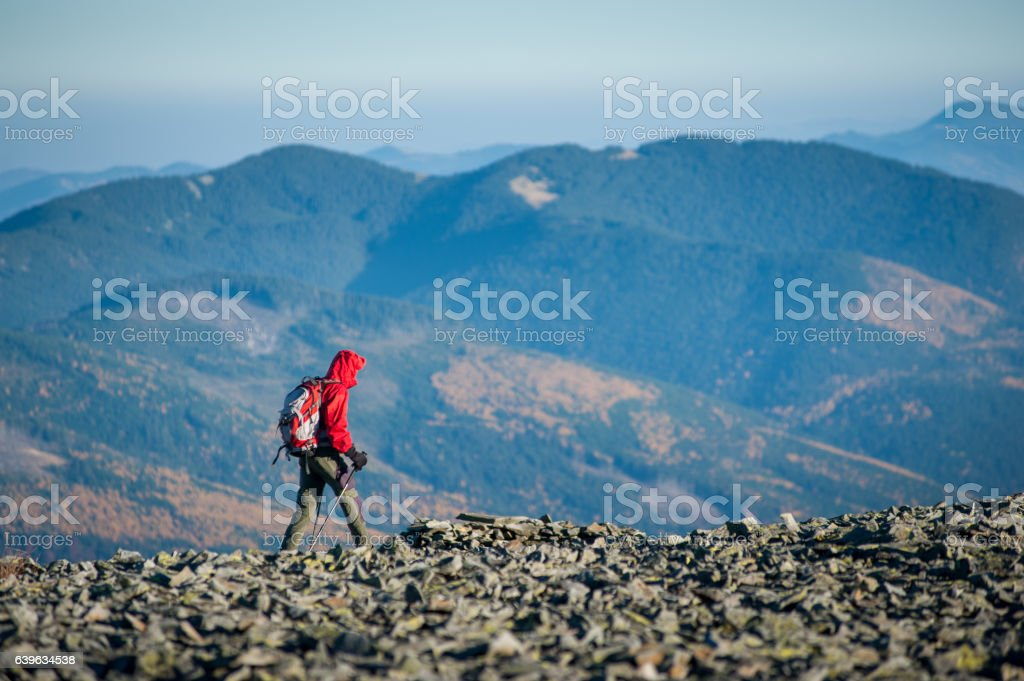 Male backpaker walking on the rocky top of the mountain stock photo