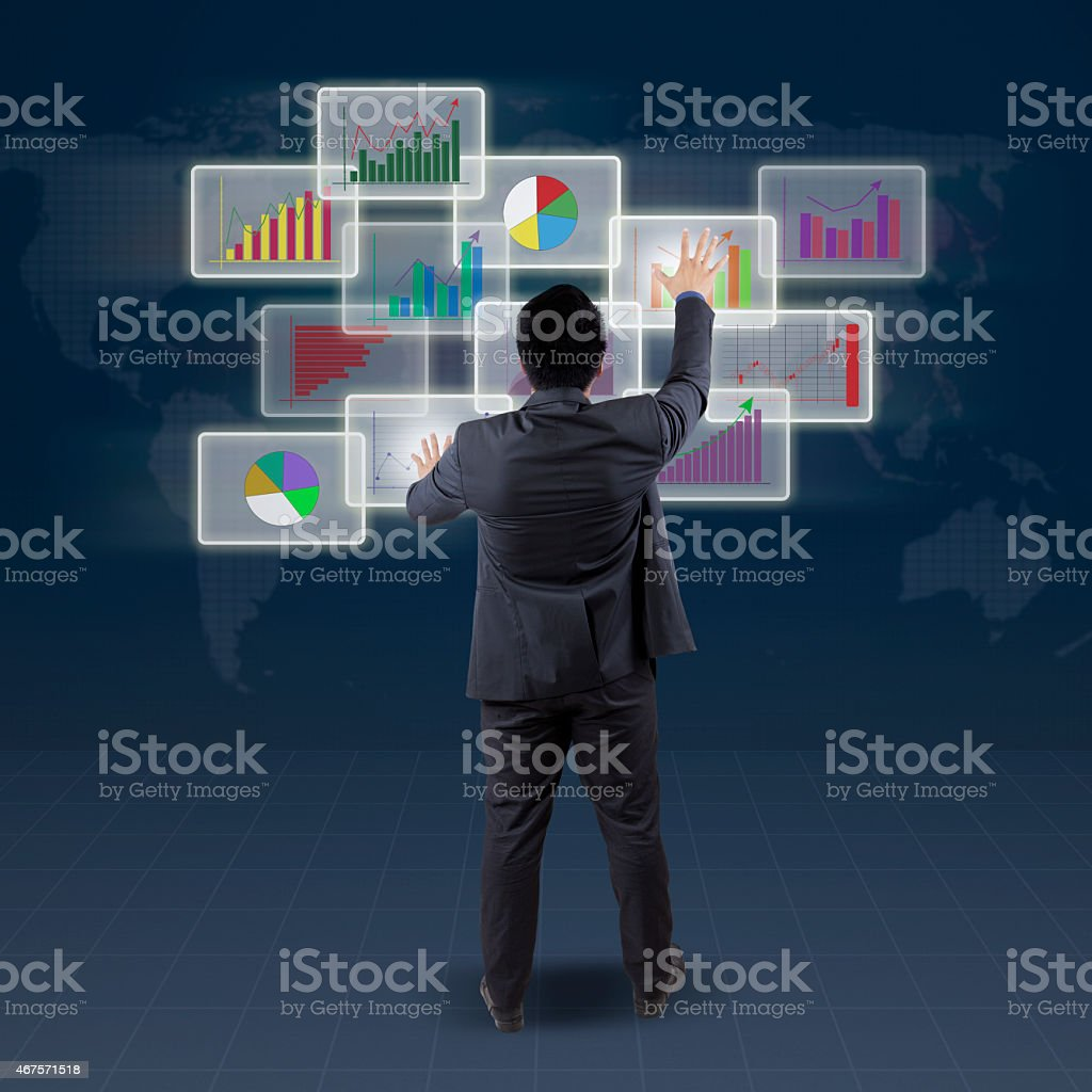 Male banker manage finance chart stock photo