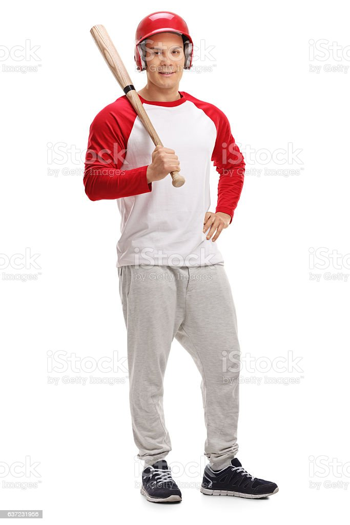 Male baseball player posing with a bat stock photo