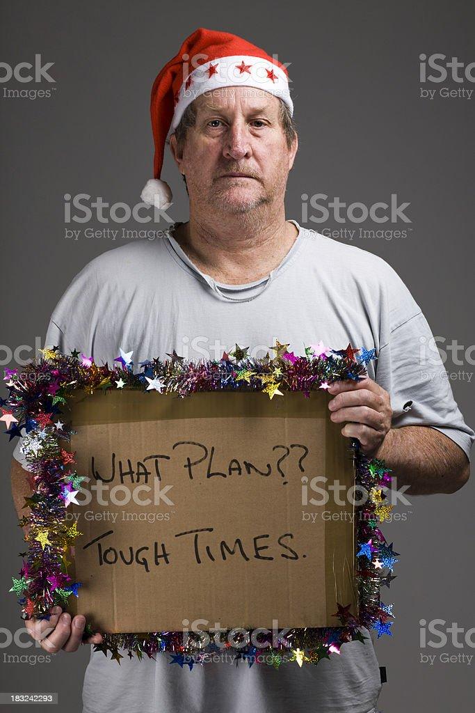 Male beggar at Christmas royalty-free stock photo