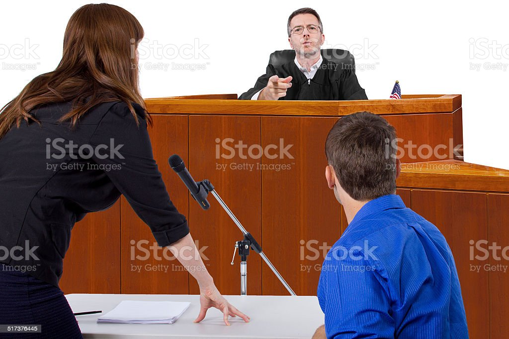 Male Being Sued in a Court Trial stock photo