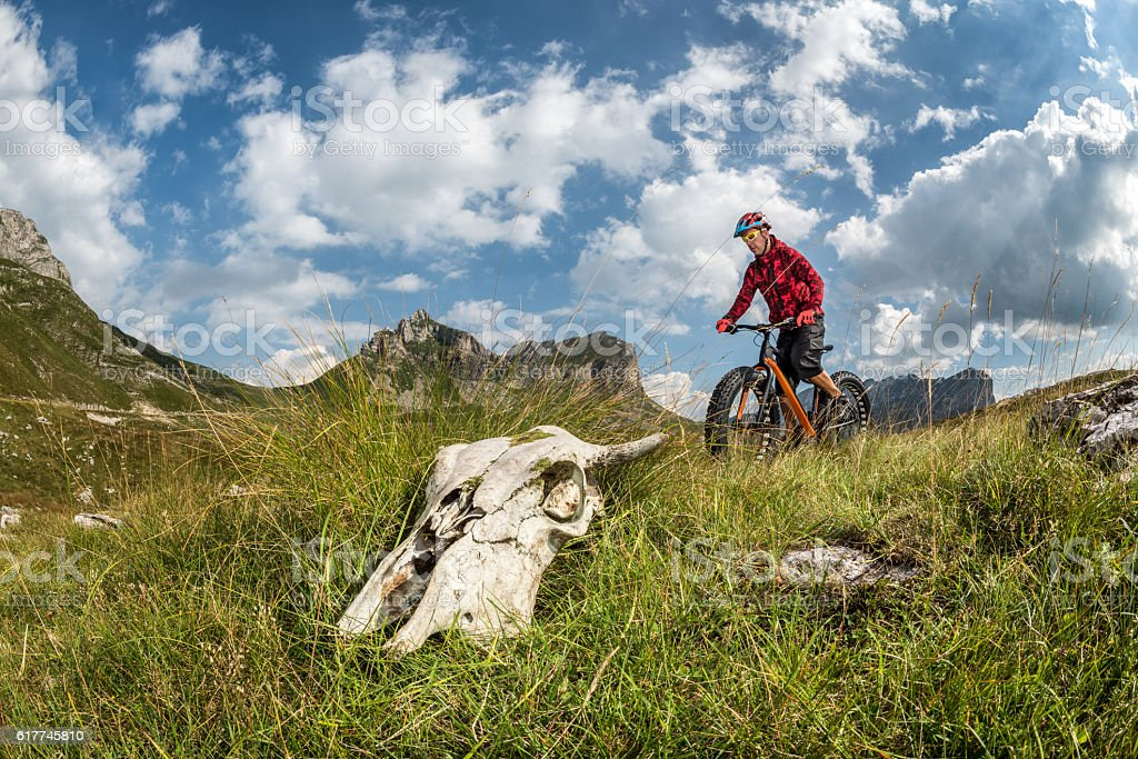 Male bicycle rider in the mountains stock photo