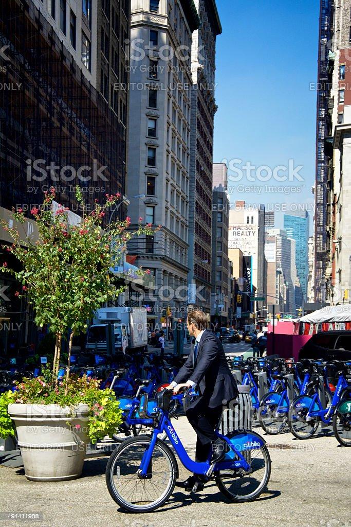 Male Bicyclist, Citi Bike Station, Flatiron District, New York City stock photo