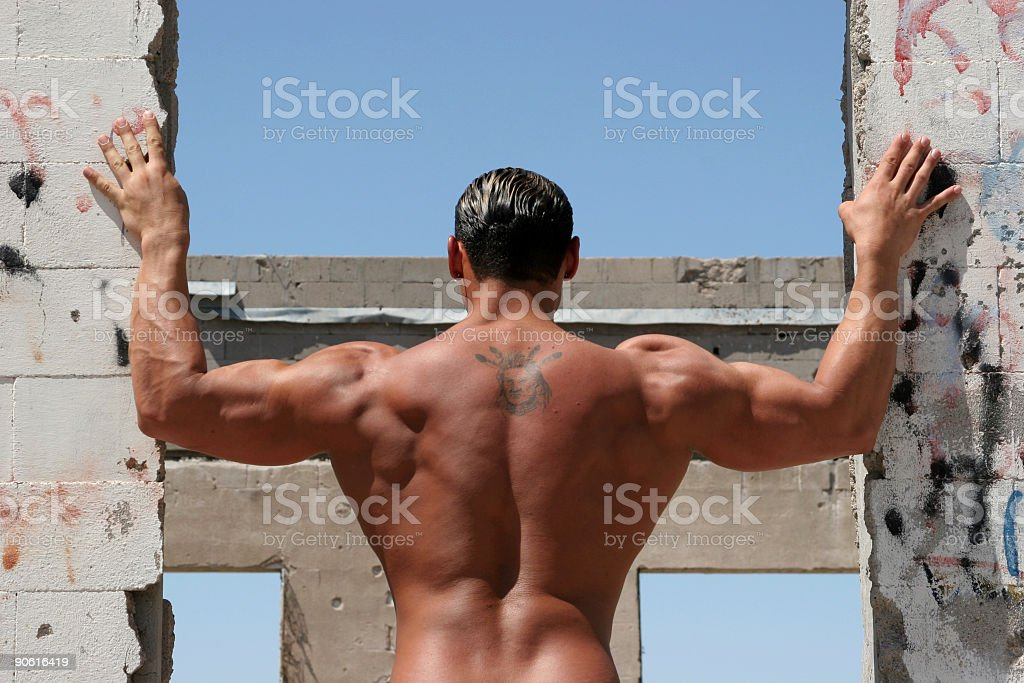 Male body builder back royalty-free stock photo
