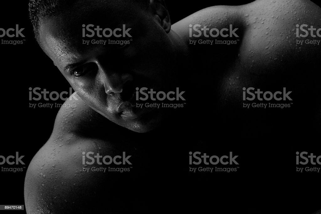 Male body builder concentrating black and white stock photo