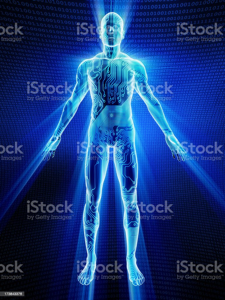 Male body covered in electronic circuits stock photo