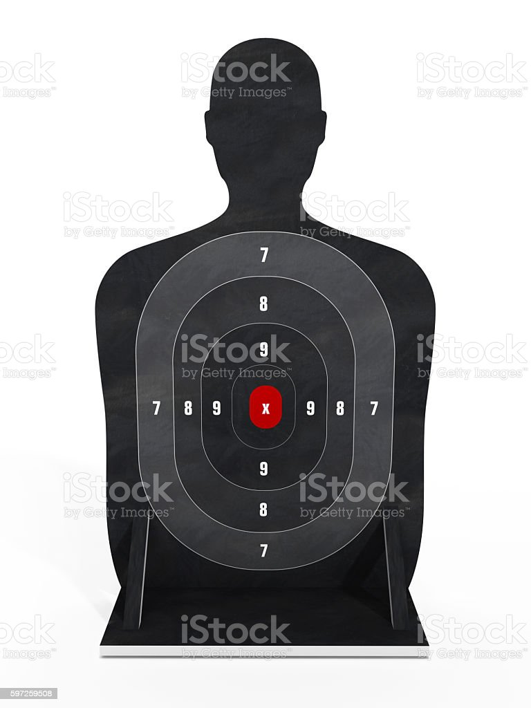 Male body shaped target with red point at the middle stock photo