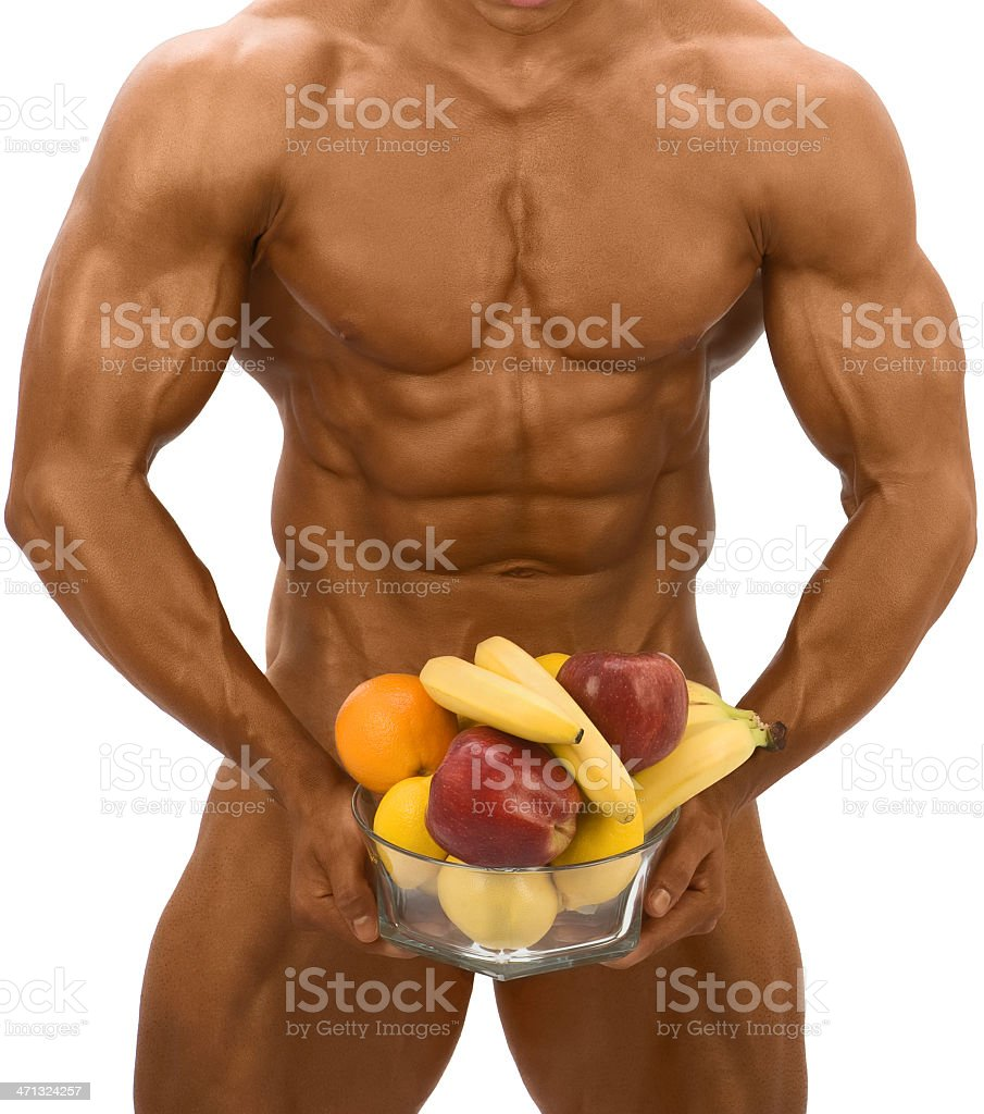 Male body with fruits royalty-free stock photo