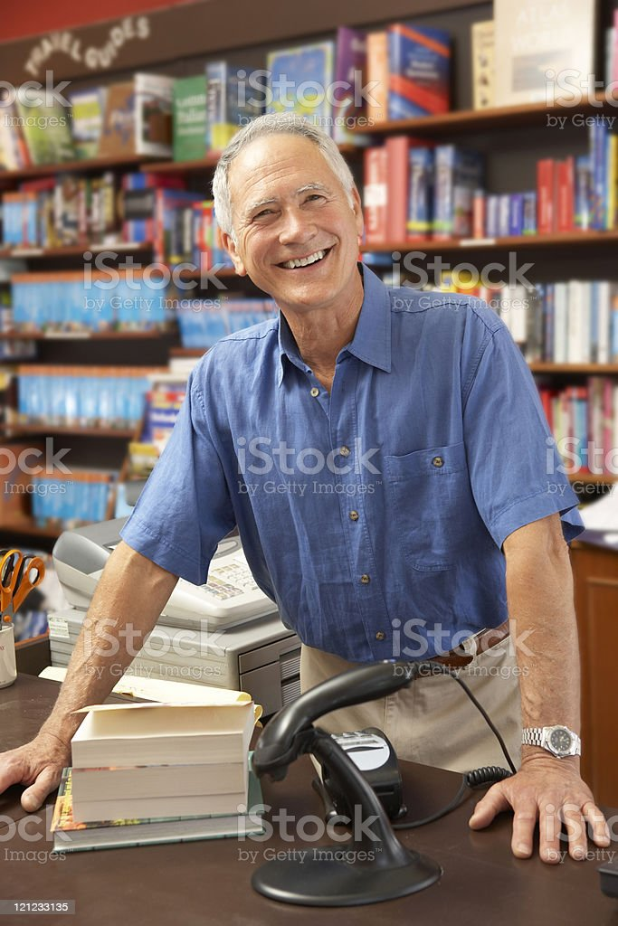 Male bookshop proprietor royalty-free stock photo