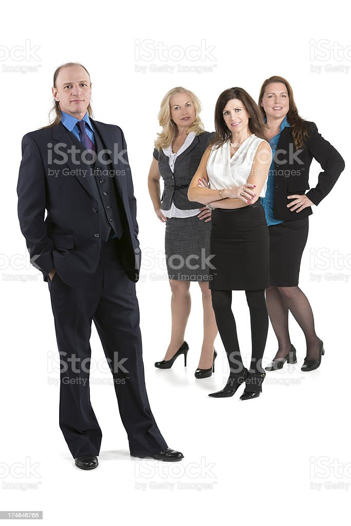 Male boss with an all-female team behind her on white royalty-free stock photo
