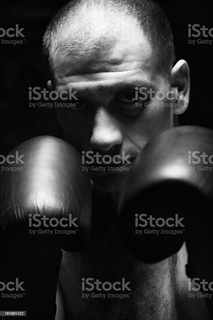 Male boxer in a dark royalty-free stock photo