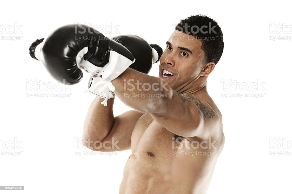 Male boxer in action royalty-free stock photo