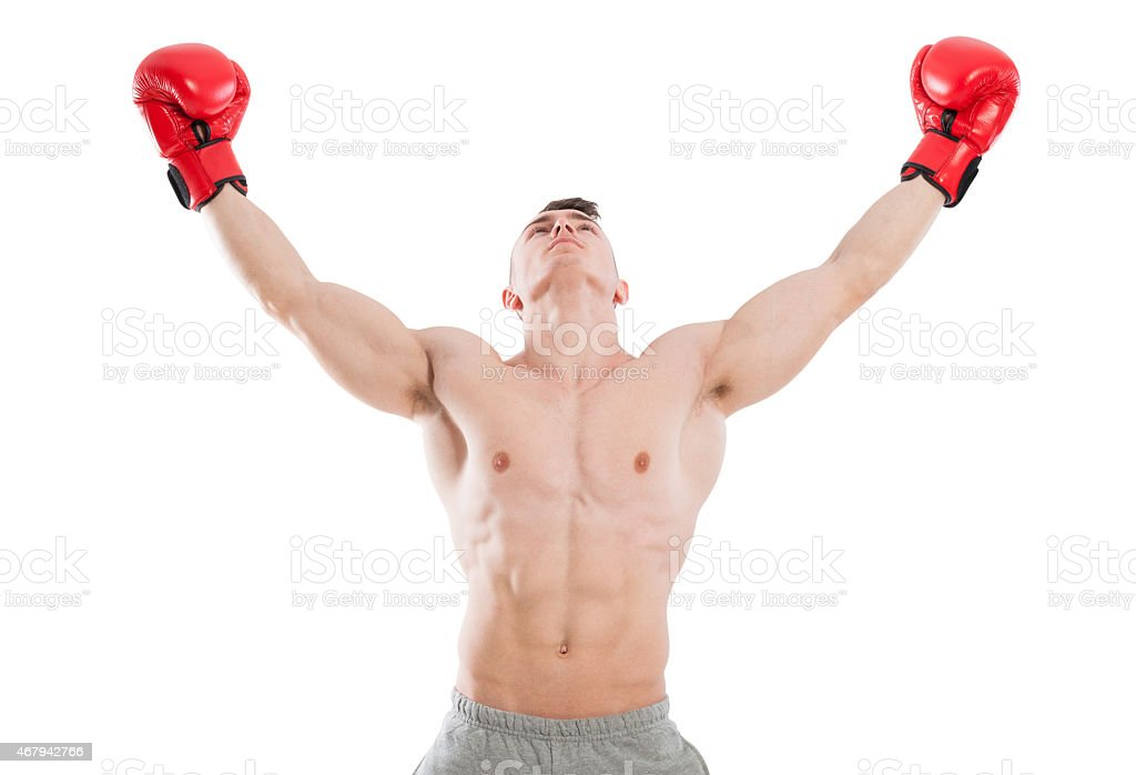 Male boxer praying or searching for inspiration stock photo