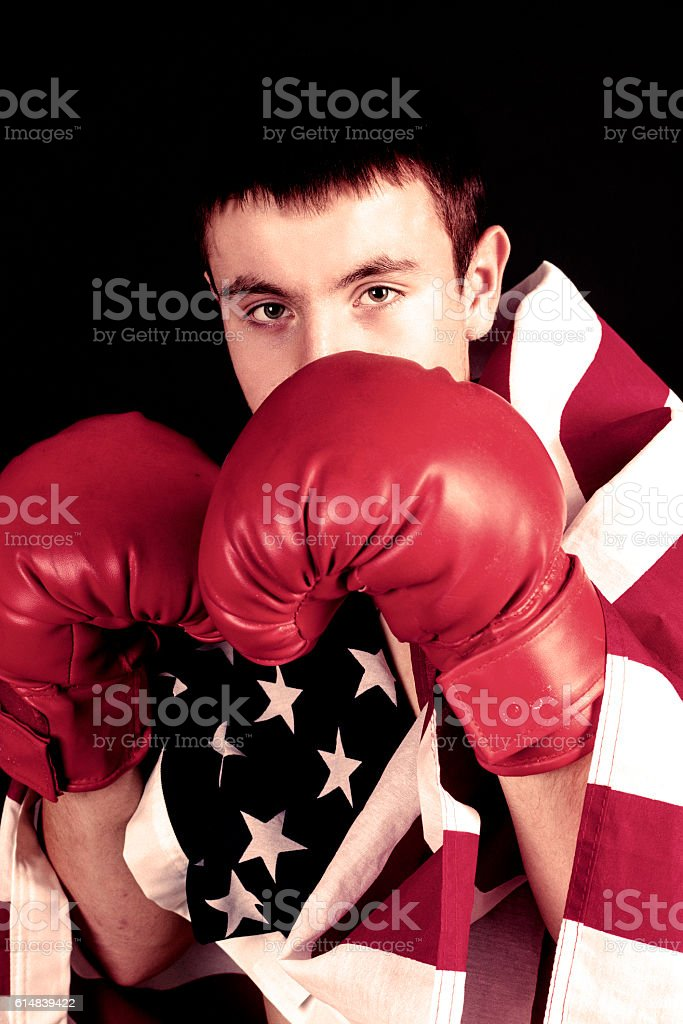 male boxer with US flag stock photo