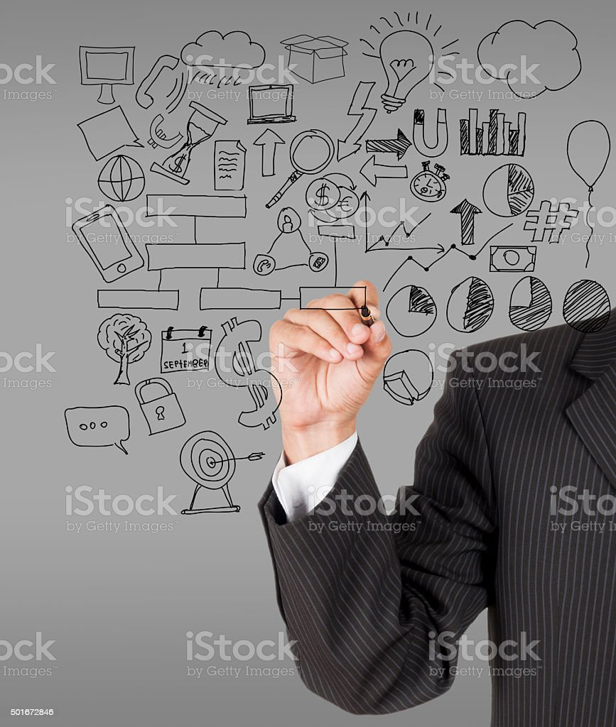 male businessman with marker writting something stock photo