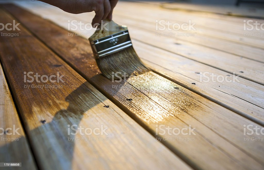 Male Carpenter Applying Varnish To Wooden Deck stock photo
