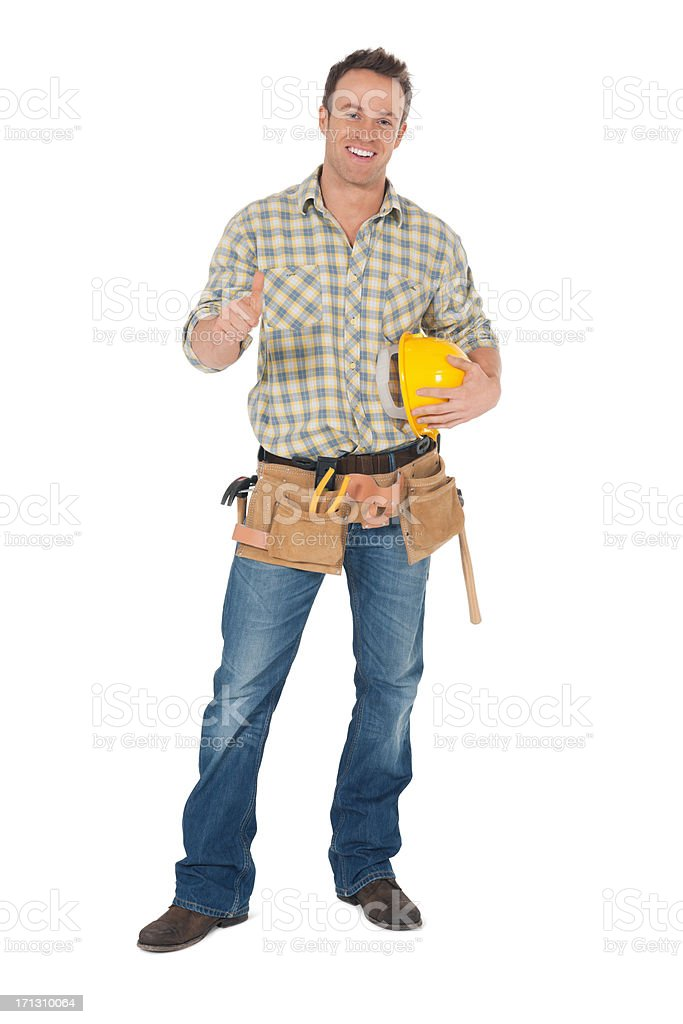 Male Carpenter Gesturing Thumbs Up - Isolated. royalty-free stock photo
