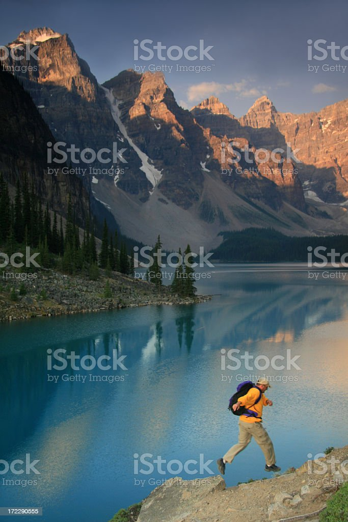 Male Caucasian Trail Runner in the Canadian Rockies royalty-free stock photo