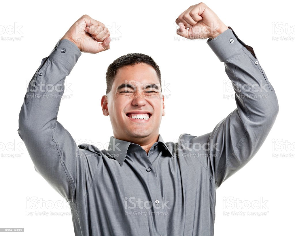 Male celebrating with hands in the air royalty-free stock photo