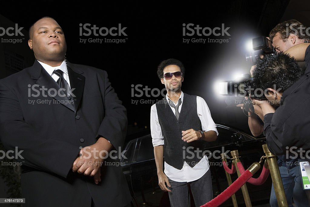 Male Celebrity Being Photographed stock photo