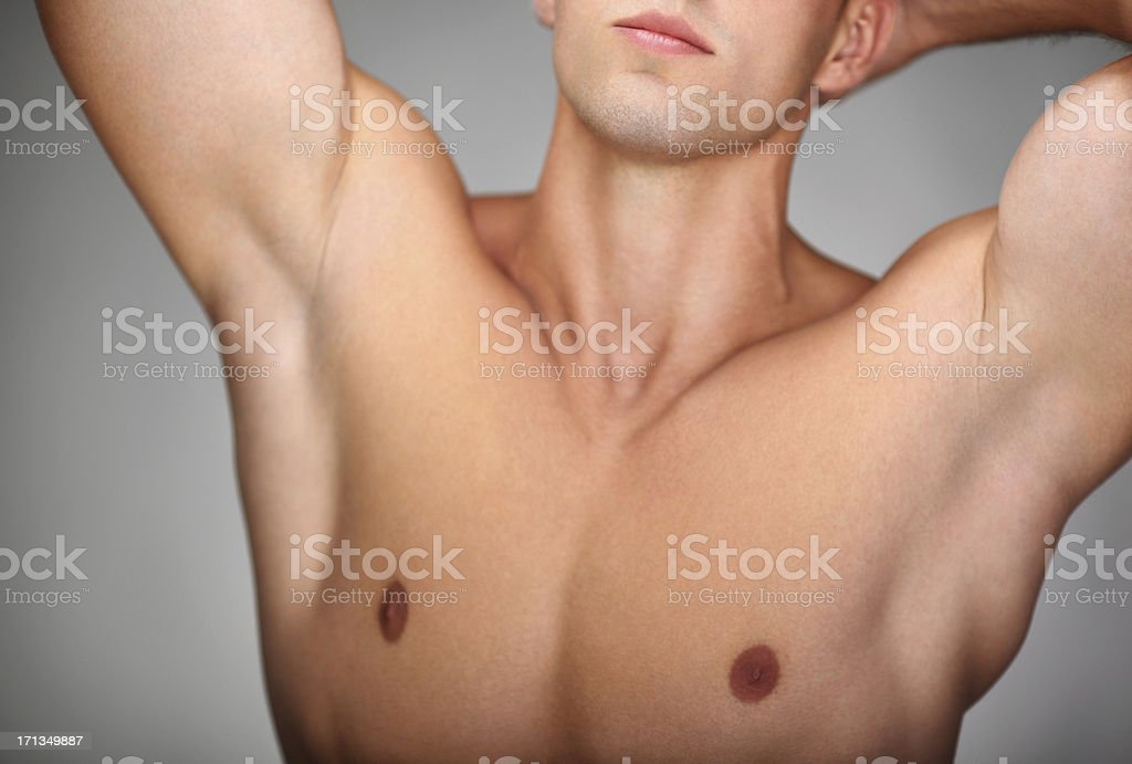 Male chest,closeup. stock photo