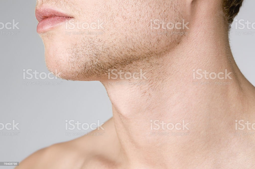 Male chin and neck stock photo