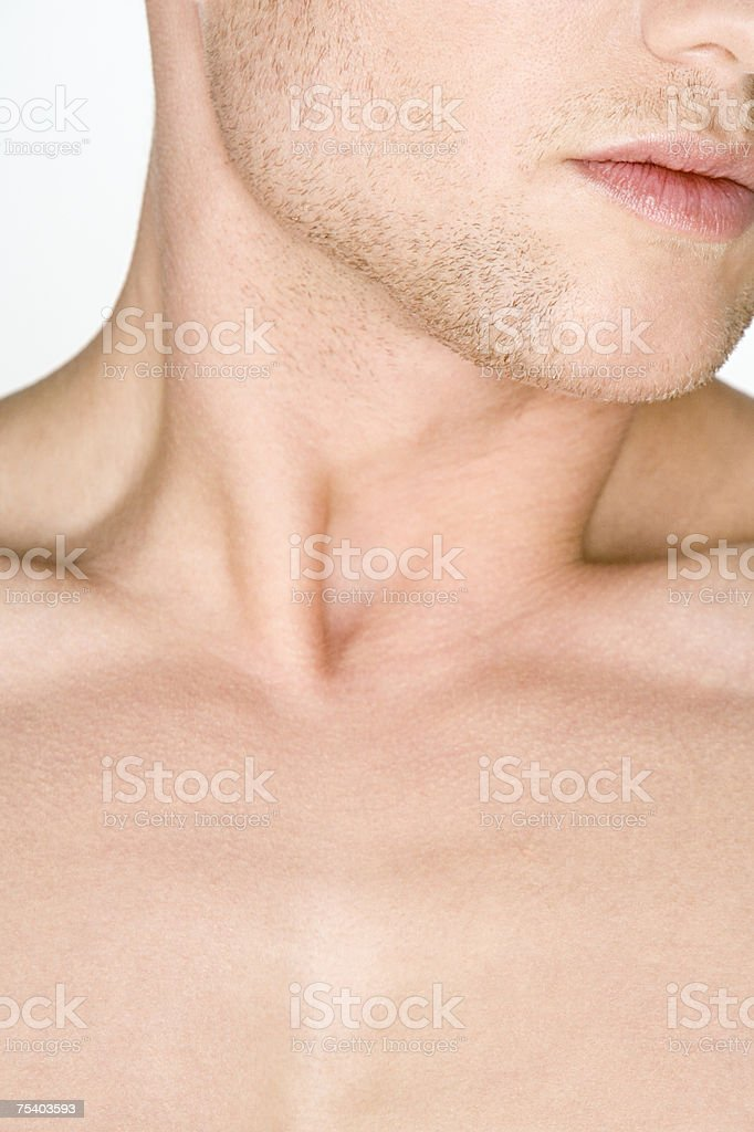 Male chin neck and chest royalty-free stock photo