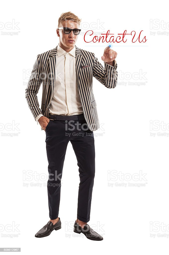 Male clicking on contact us stock photo