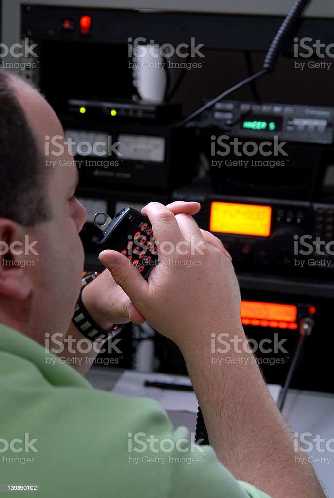 Male communication operator stock photo