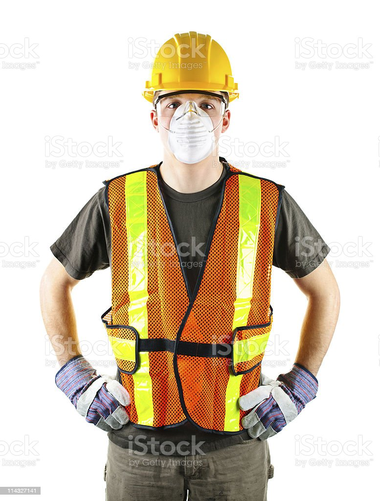 Male construction worker wearing safety equipment stock photo