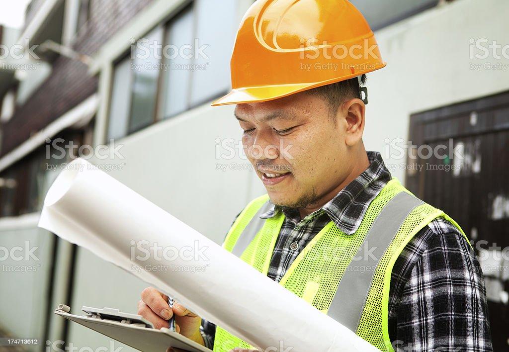 Männlichen Bauarbeiter mit Sicherheit Weste Lizenzfreies stock-foto
