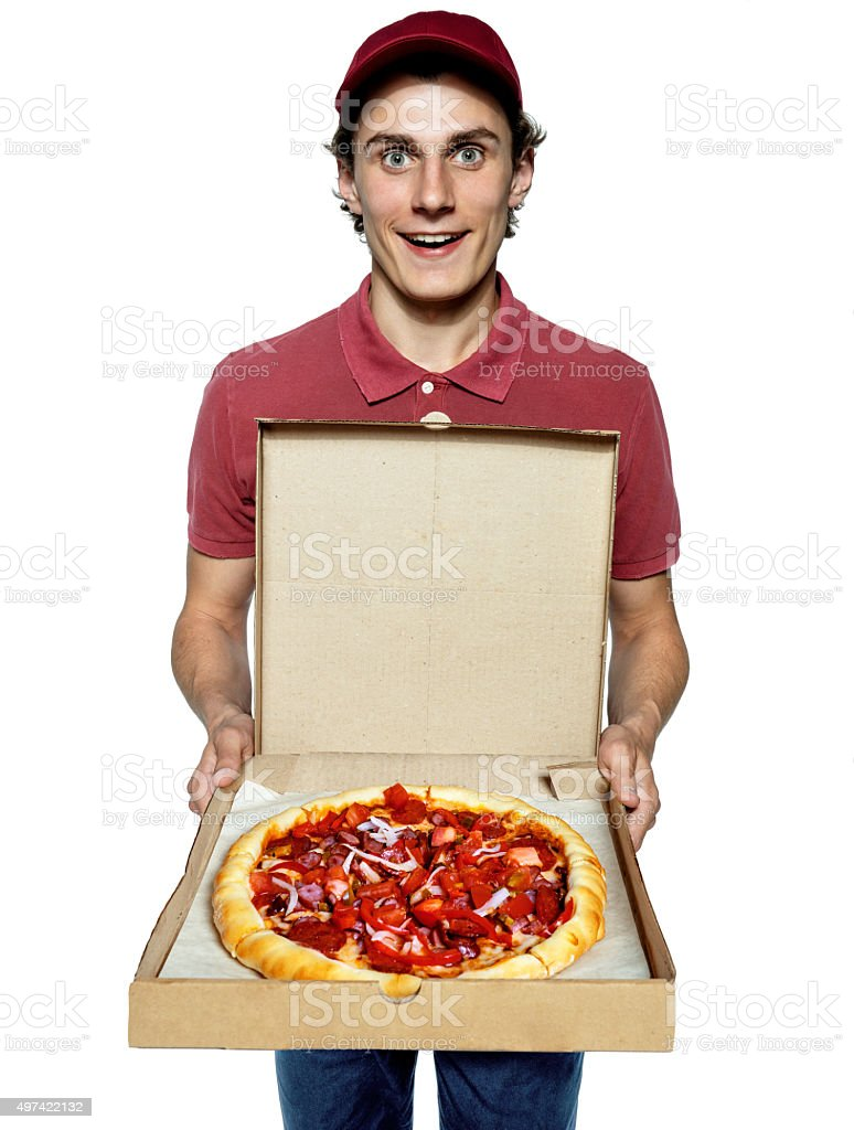 Male courier company worker delivering a pizza. stock photo