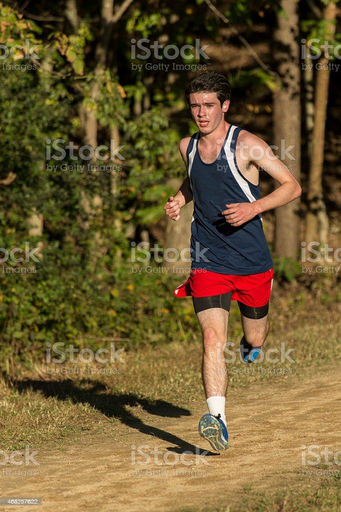 Male cross country runner stock photo