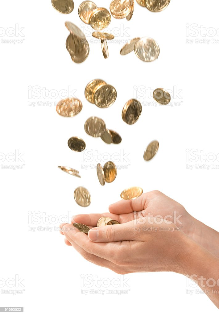 Male Cupped Hands Catching Falling Gold Coins Isolated on White stock photo