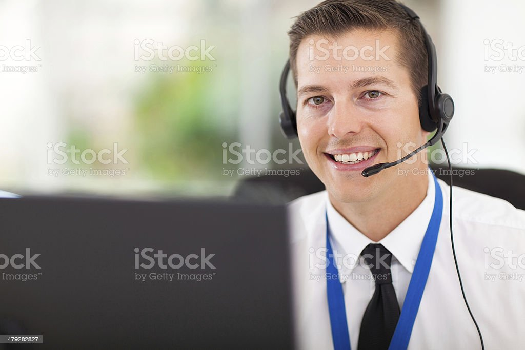 male customer support operator with headset stock photo