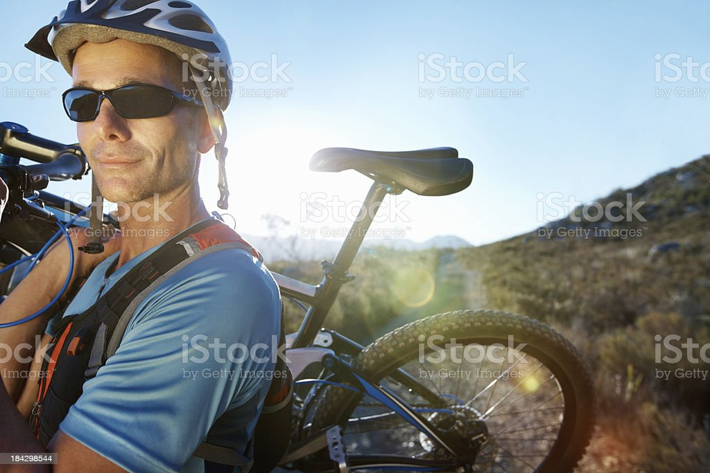 Male cyclist on a cycling tour royalty-free stock photo