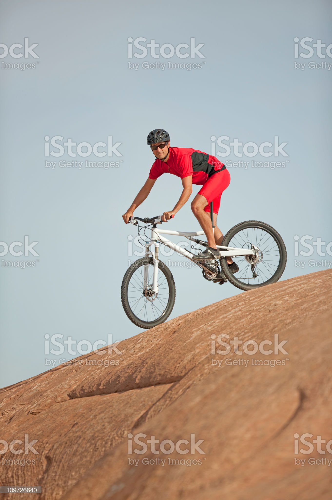 Male Cyclist On Mountain Bike Looking At Camera royalty-free stock photo