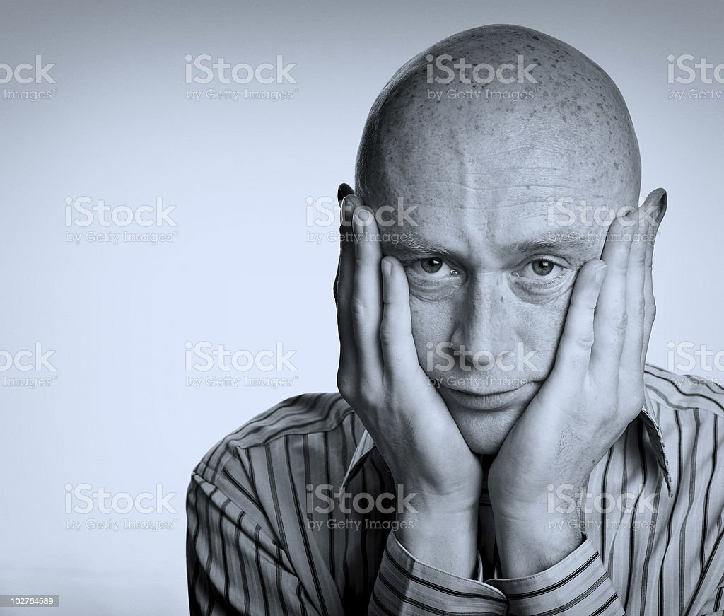 male depressed and worried on white royalty-free stock photo