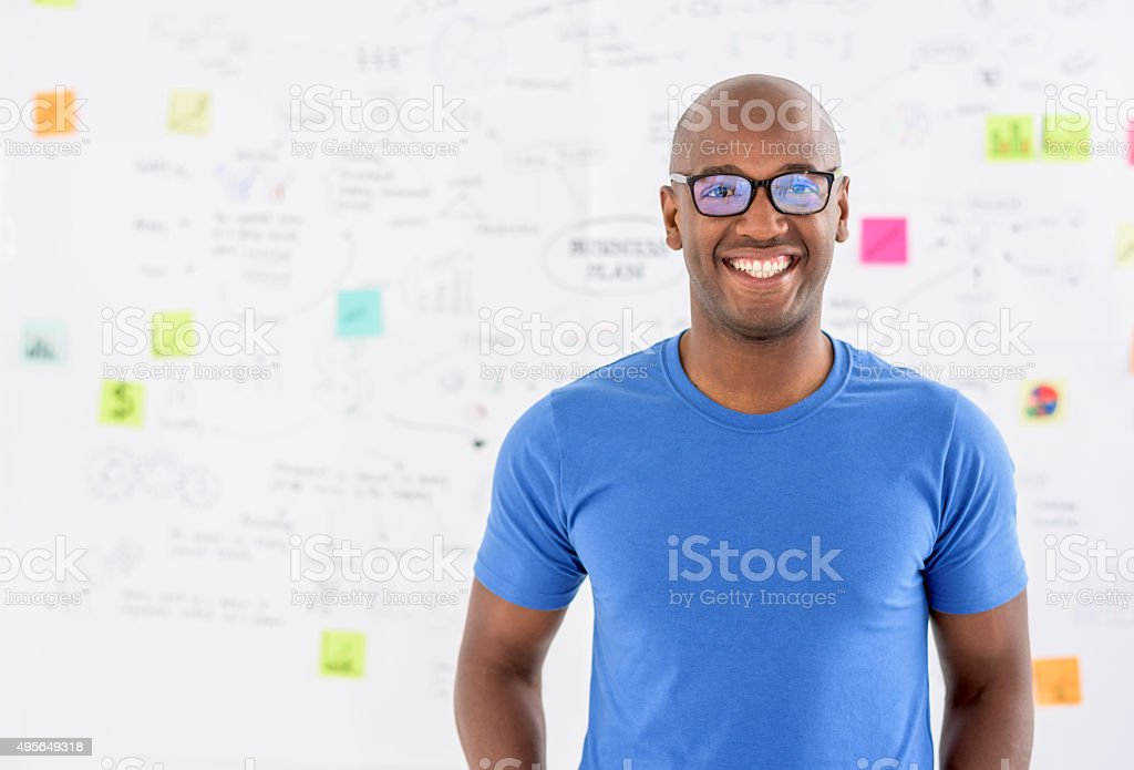 Male designer looking happy at the office stock photo