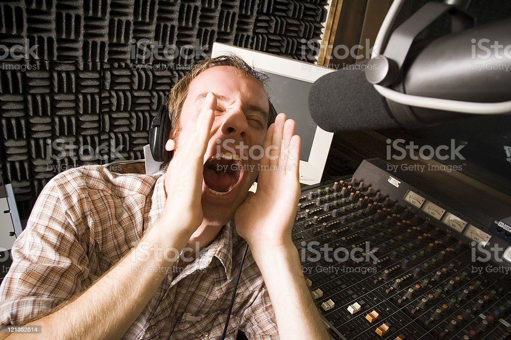 Male DJ Shouting Out to the World royalty-free stock photo