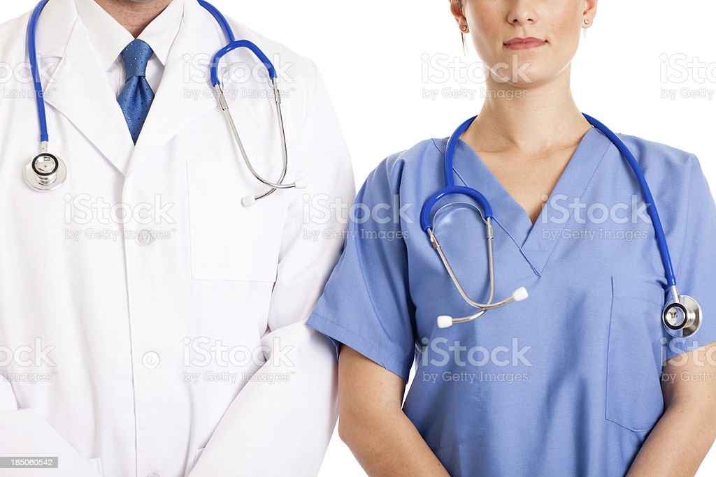 Male Doctor and Female Nurse, With White Background royalty-free stock photo
