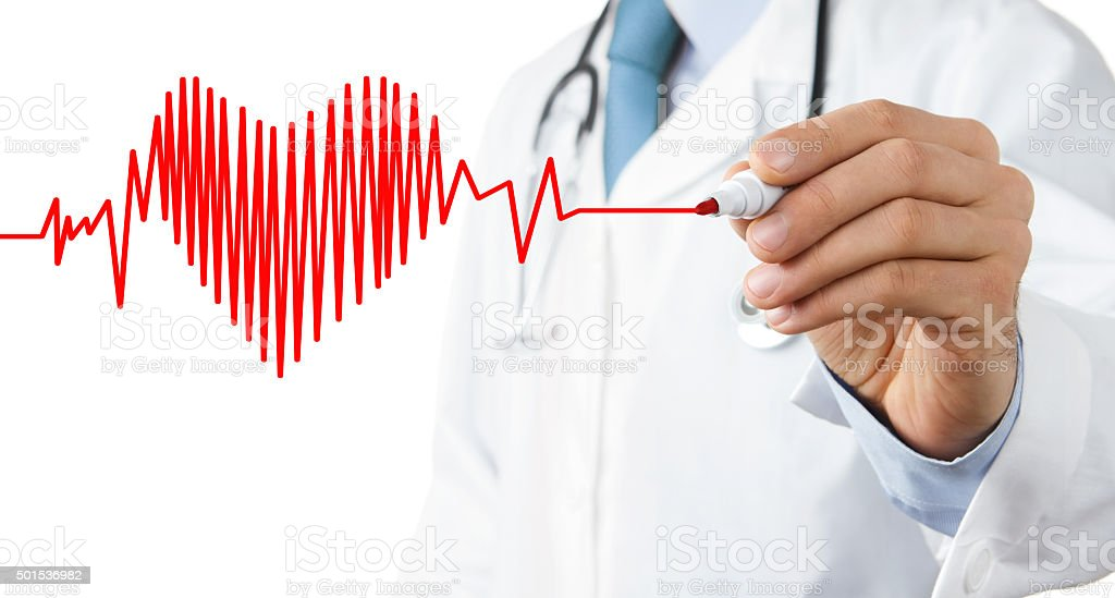 Male doctor drawing heart beat stock photo