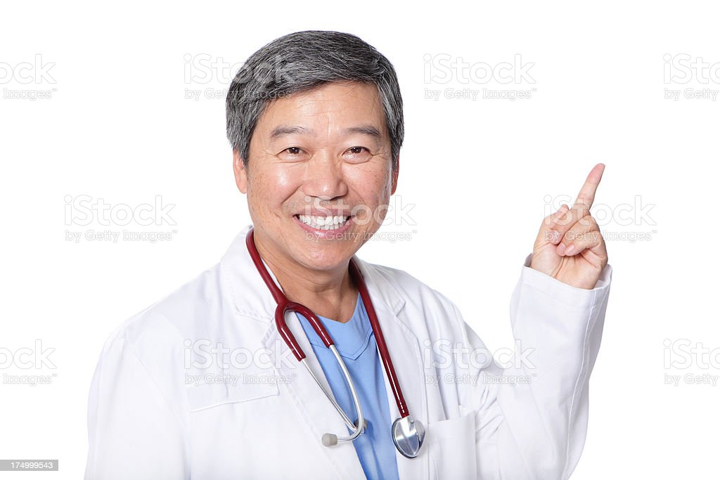 Male doctor finger points to his left royalty-free stock photo