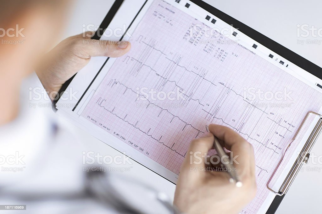 male doctor hands with cardiogram royalty-free stock photo