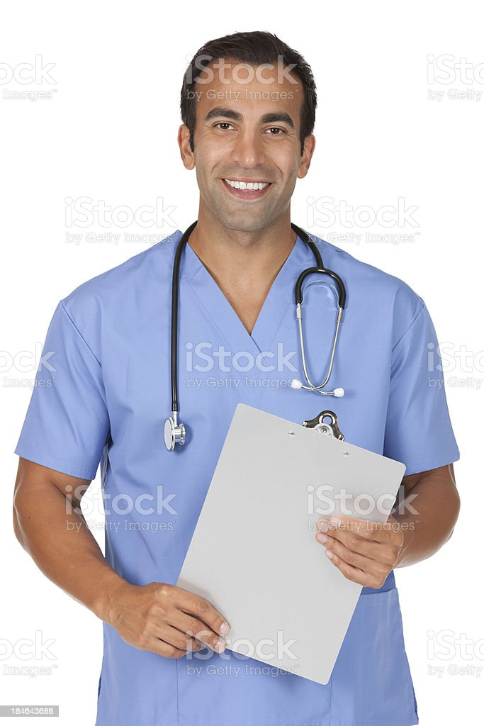 Male doctor holding a clipbooard royalty-free stock photo