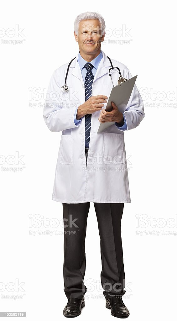 Male Doctor Holding Clipboard - Isolated royalty-free stock photo