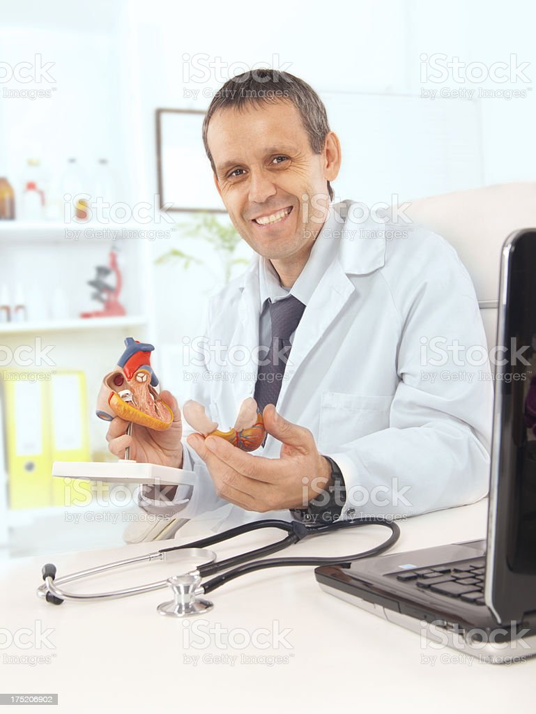 Male doctor holding heart royalty-free stock photo